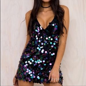 Motel Rocks • Sequin Racerback Finn Slip Dress. S